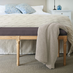 Charcoal Linen Bed ottoman