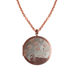Fairies and Dandelions... Engraved Vintage Copper Locket