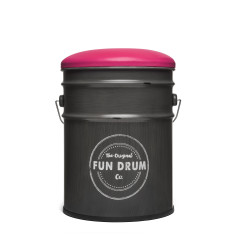 Fun drum stool & storage box with pink lid