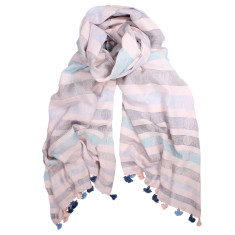 Chelsea stripe cotton stripe pom pom scarf (various colours)