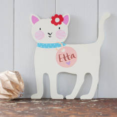 Cream Personalised Hand Painted Cat Door Plaque