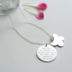 Personalised Sterling Silver Disc and Butterfly Quote Necklace