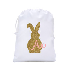 Personalised bling bunny Easter egg hunt tote bag in pink or peach