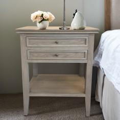 Oak two drawer bedside table