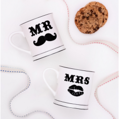 Mr & Mrs Moustache Mugs
