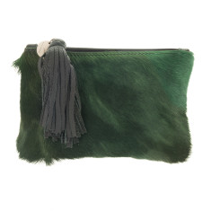 Chloe Forest Green Bok + Black Leather Clutch