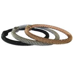 Cable bracelet in silver, rose gold and black by Torini
