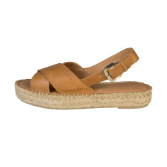 Alohas Tan Leather Crossed Strap Sandal
