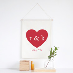 Heart personalised wall banner