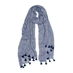Ditsy denim tassle scarf