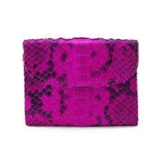 Agra pink motif python and napa leather flap card case