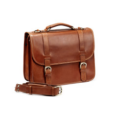 TheCompanion Leather Briefcase In Tan