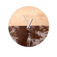 Brown hair cowhide clock