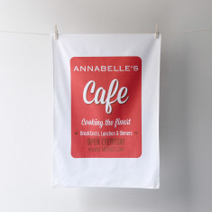 Personalised cafe tea towel