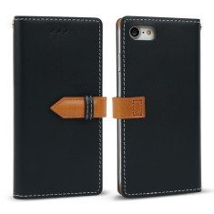 Classic snap leather iPhone 7 case in navy blue