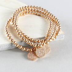 Rose gold pave charm bracelet