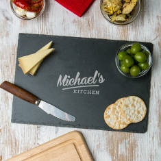 Personalised Natural Slate His Kitchen Serving Board