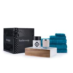 Teal towels, jewellery box & soy wax candle bathroom gift box