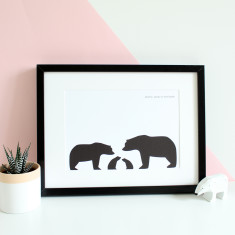 A4 Family silhouette bear family portrait