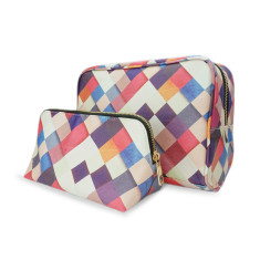 Travel Gift Set Colourful Checkered Make Up & Wash Bag