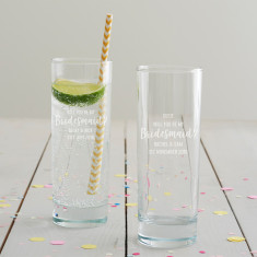 Personalised 'Will You Be My Bridesmaid?' Hi Ball Glass