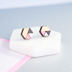 Hexagon geometric earrings - baby pink, pearl white, charcoal