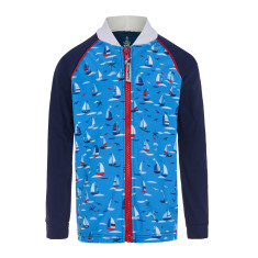 Boys' UPF50+ sun jacket in regatta print with long sleeves