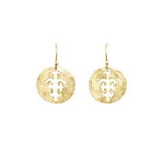 Tolus disc drop earrings in 18 kt yellow gold plate