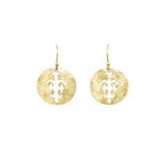 Tolus disc drop earrings in 18 kt yellow gold plate