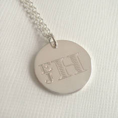 Men's Engraved Monogram Stacked Necklace