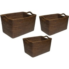 Brown rattan storage baskets (set of 3)