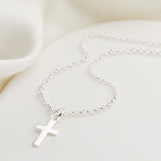 Plain Sterling Silver Cross Necklace