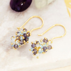 Sara Cluster Earrings With Aquamarine Mix