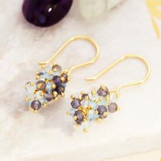 Sara Cluster Earrings With Aquamarine Mix