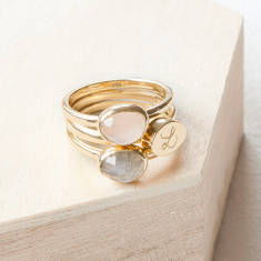 Personalised Trio Gem Stacking Ring