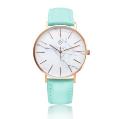 Engraved marble face women's watch with leather band  (rose gold & mint)