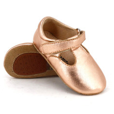 Pre-walker leather T-Bar shoes in rose gold