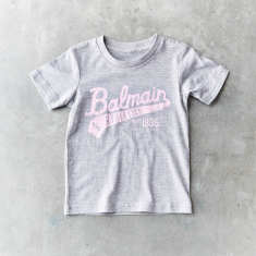Kids Grey and Pink Balmain script vintage t-shirt unisex