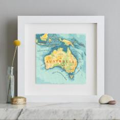 Australia map square print