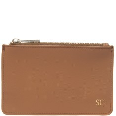 Monogrammed Saffiano Leather Small Pouch with Gold Emboss