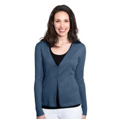 Silk Cashmere Cardigan with Pointelle Detail - Denim Blue