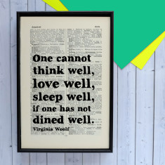 Virginia Woolf 'dined well' quote print