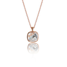 Crystal & Rose Gold Vermeil Cushion Pendant