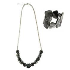 Eloquence long chain necklace + artisan bangle matching set