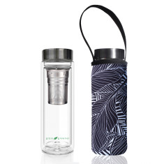 Duplicated from: Glass is greener double walled tea flask 500ml with black leaf print carry cover