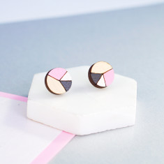 Circle geometric earrings in baby pink, pearl white and charcoal