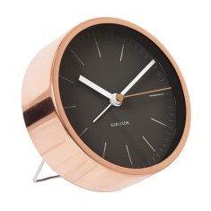 Copper-plated alarm clock with black dial