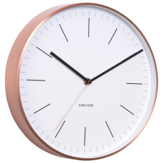 Copper-plated station-style wall clock with white dial