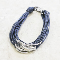 Katia silver & thread necklace (various colours)