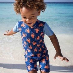 Baby sunsuit for boys in Octopus Calypso